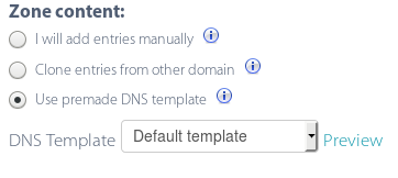 Use premade DNS template