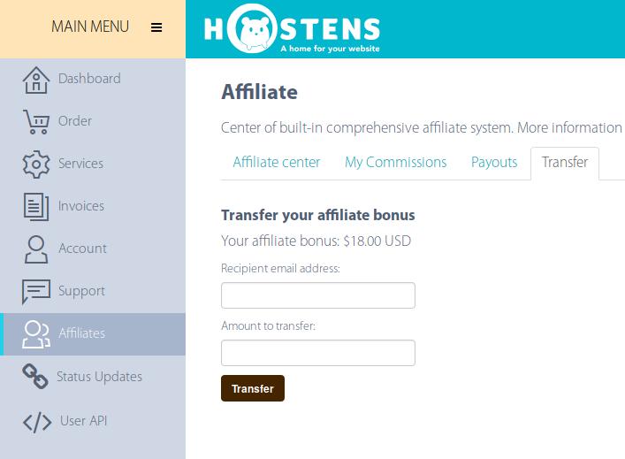 Transfer affiliate bonus